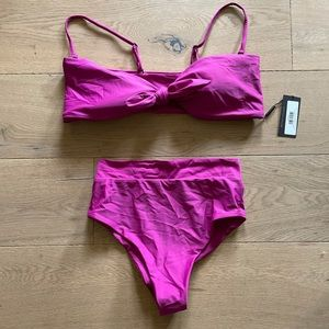 NWT tie front bikini top with high rise bottoms
